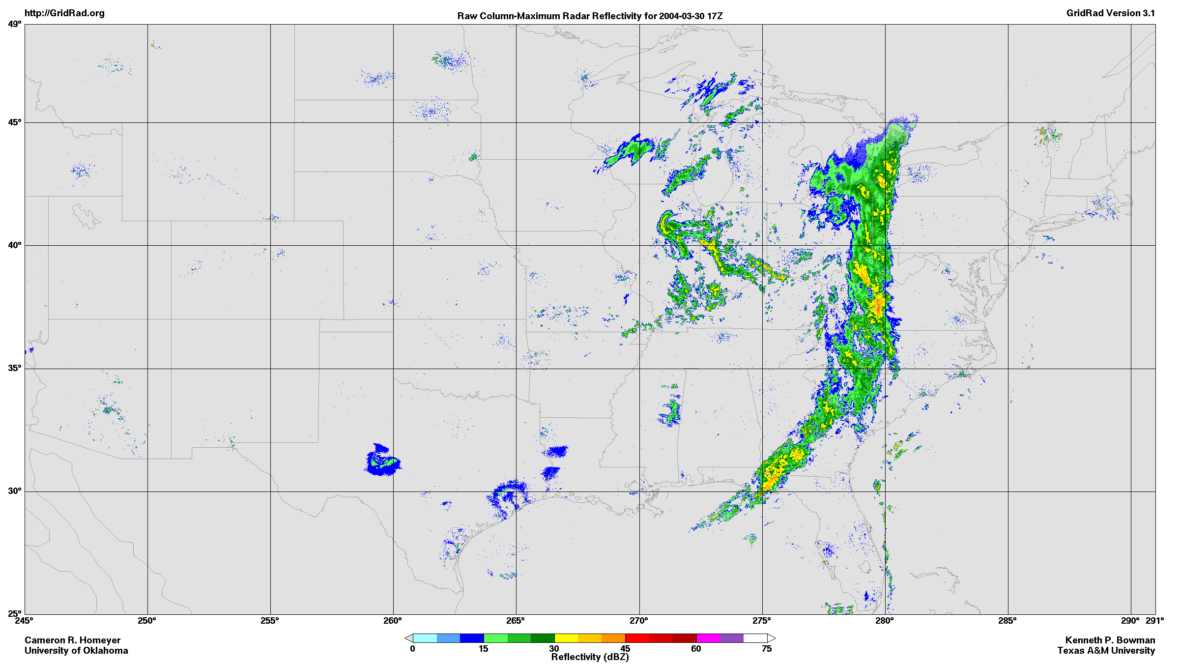 This image is an example of a radar reflectivity map created using GridRad data.